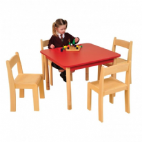 Height Adjustable Beechwood Square Table  Red